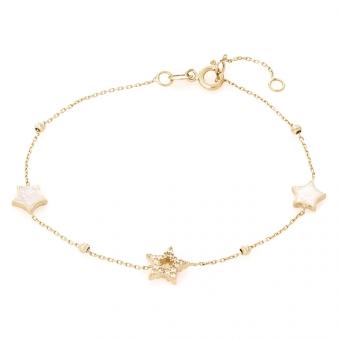 Bransoletka GLOW złota z masą perłową i gwiazdkami