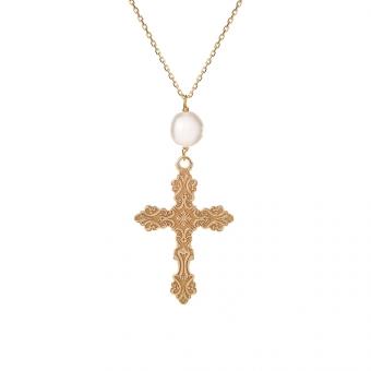 Naszyjnik URBAN CHIC srebrny pozłacany z krzyżykiem i perłą