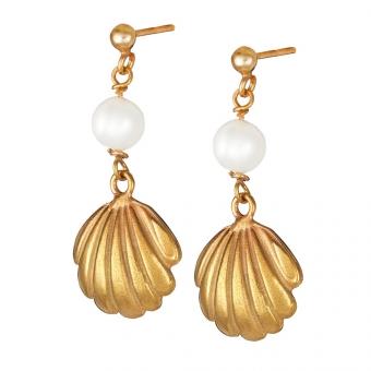 Kolczyki ARIEL srebrne pozłacane z perłą i muszelką