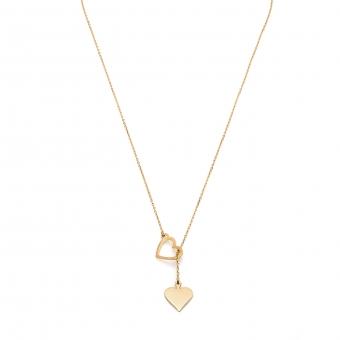 Naszyjnik ROMANTICA srebrny pozłacany z sercem i symbolem pik