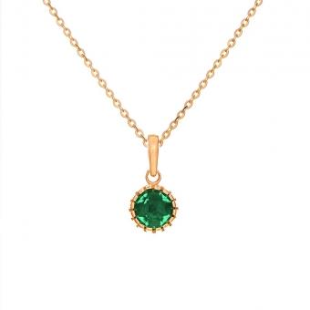 Wisiorek DOLCE VITA złoty z zielonym kwarcem