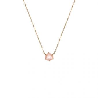 Naszyjnik DUO srebrny pozłacany z różowym kwarcem
