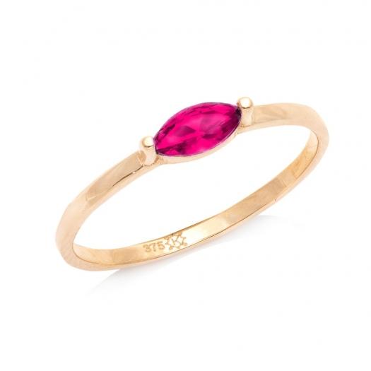 Pierścionek ROYAL złoty z różową cyrkonią