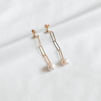 Kolczyki TRENDY srebrne pozłacane z naturalnymi perłami