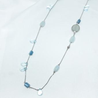 Naszyjnik SUMMER srebrny z niebieskim akwamarynem